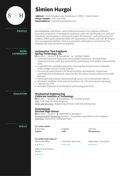 Automation Test Engineer Resume Sample