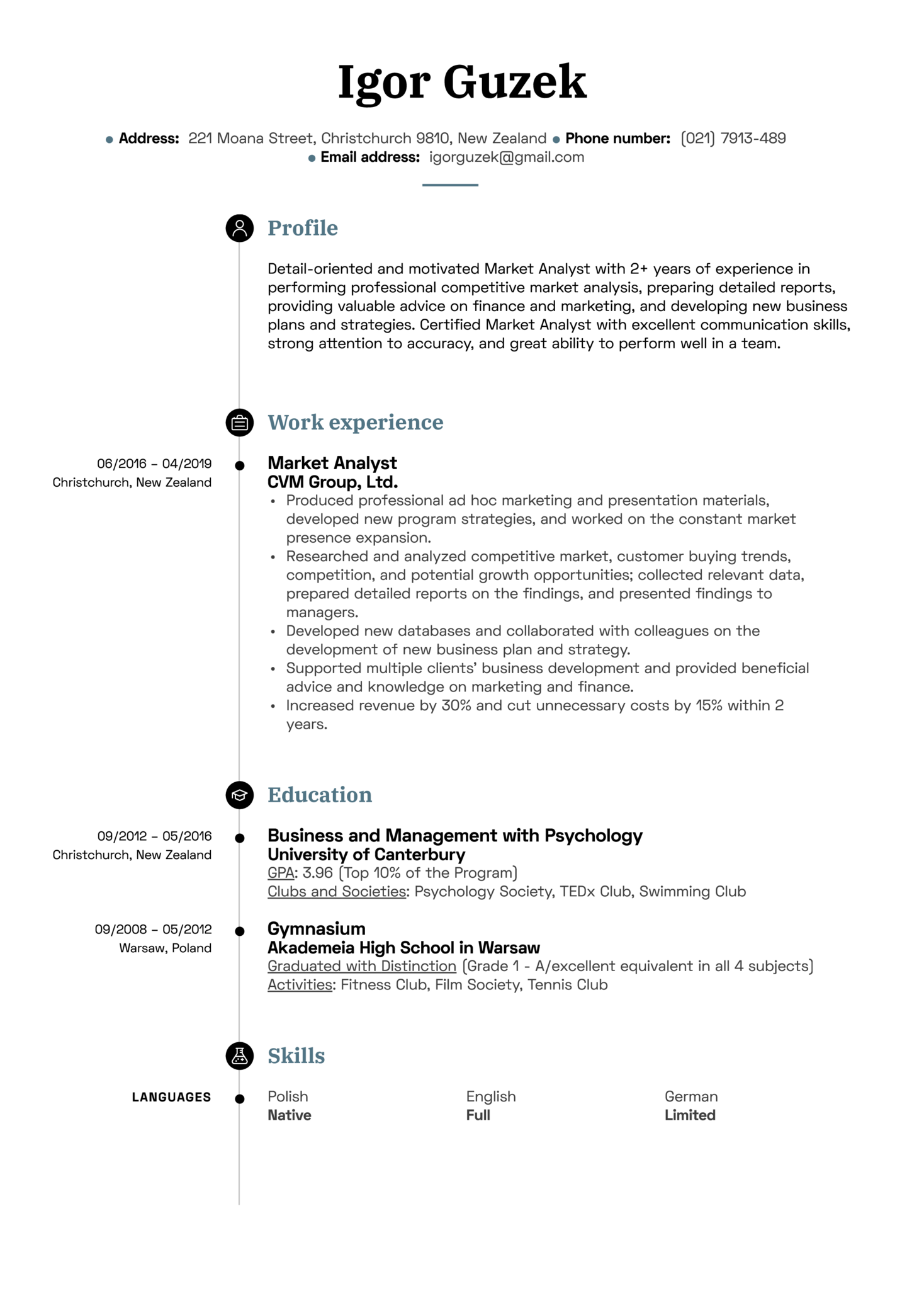 Market Analyst Resume Sample