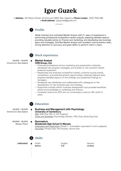 Market Analyst Resume Sample