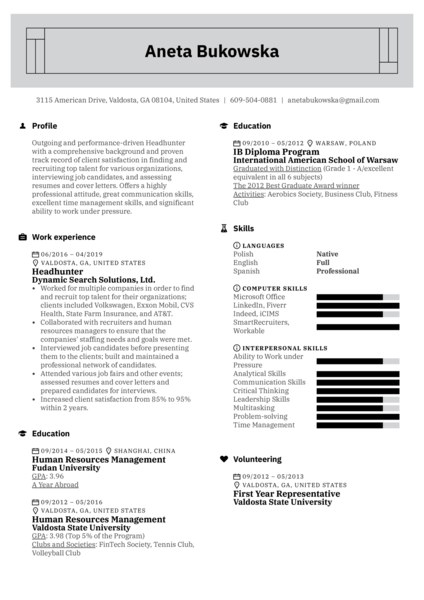 Headhunter Resume Example