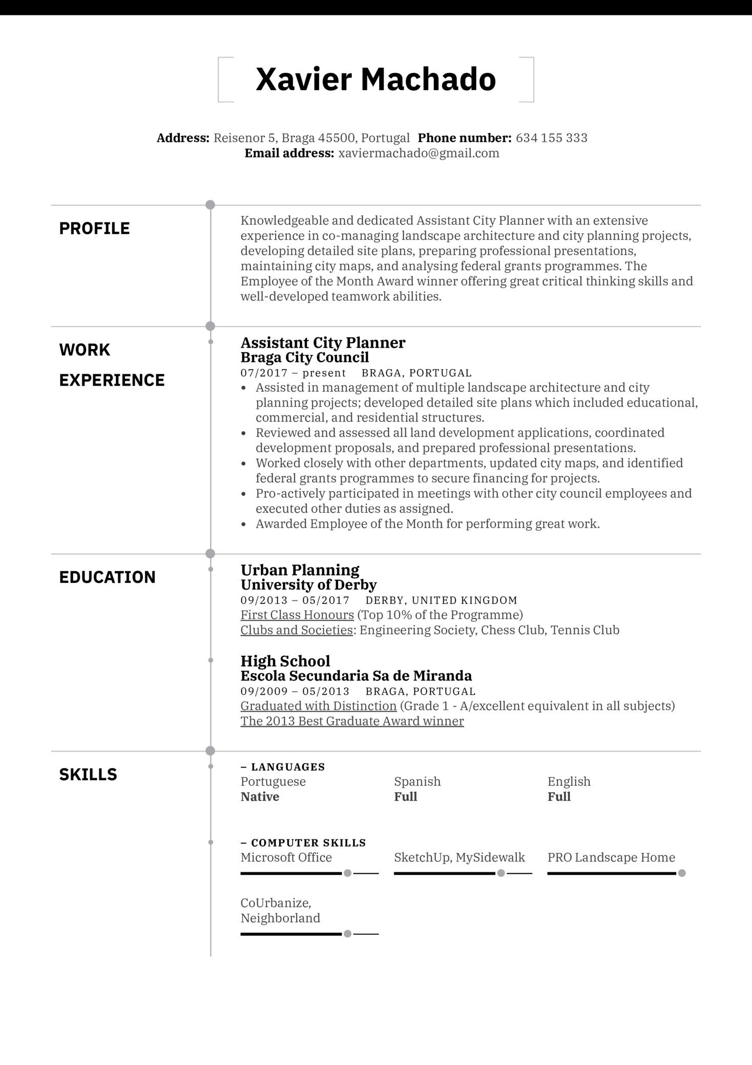 assistant city planner resume example
