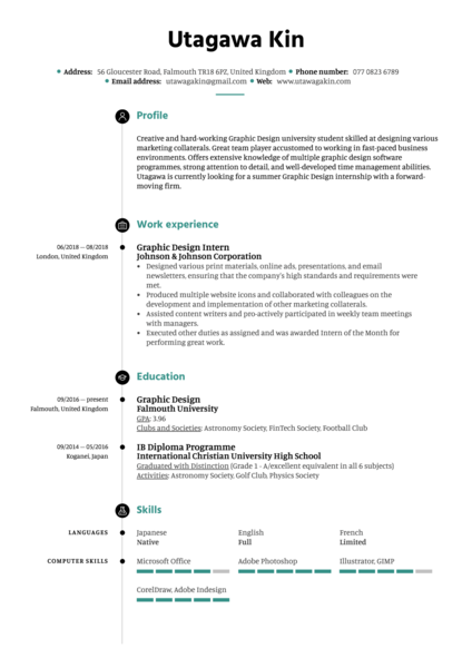 Graphic Design Intern Resume Example