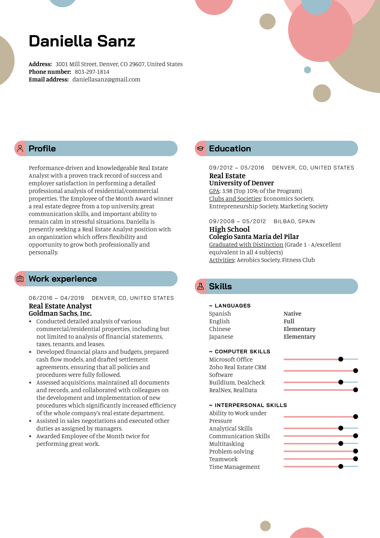 resume examples by real people  real estate analyst resume