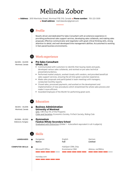 Pre Sales Consultant Resume Sample