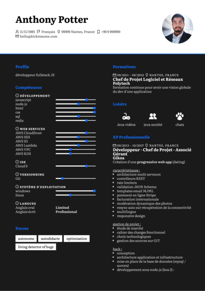 Développeur, Chef de Projet resume sample [FR]