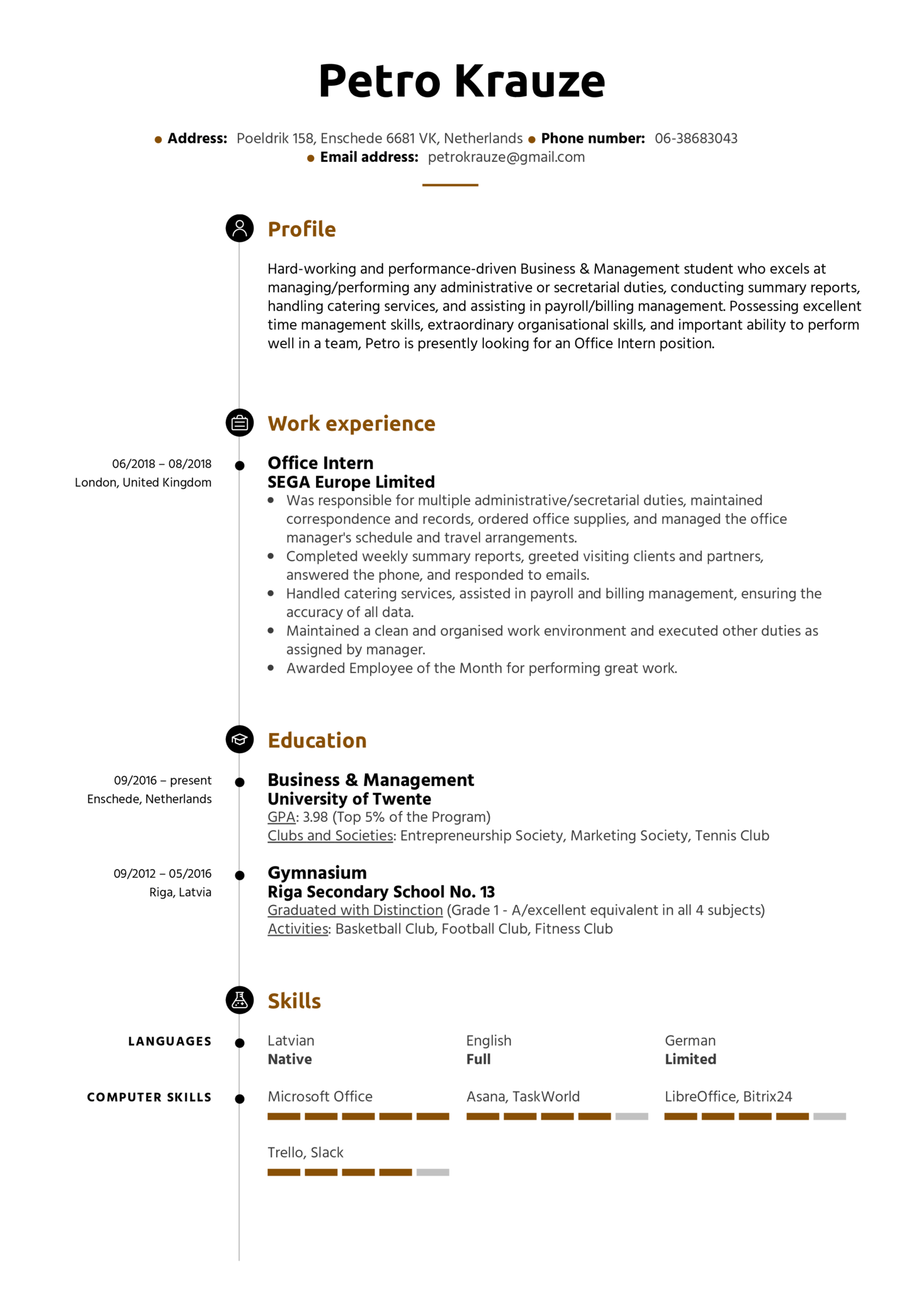 resume examples by real people  office intern resume