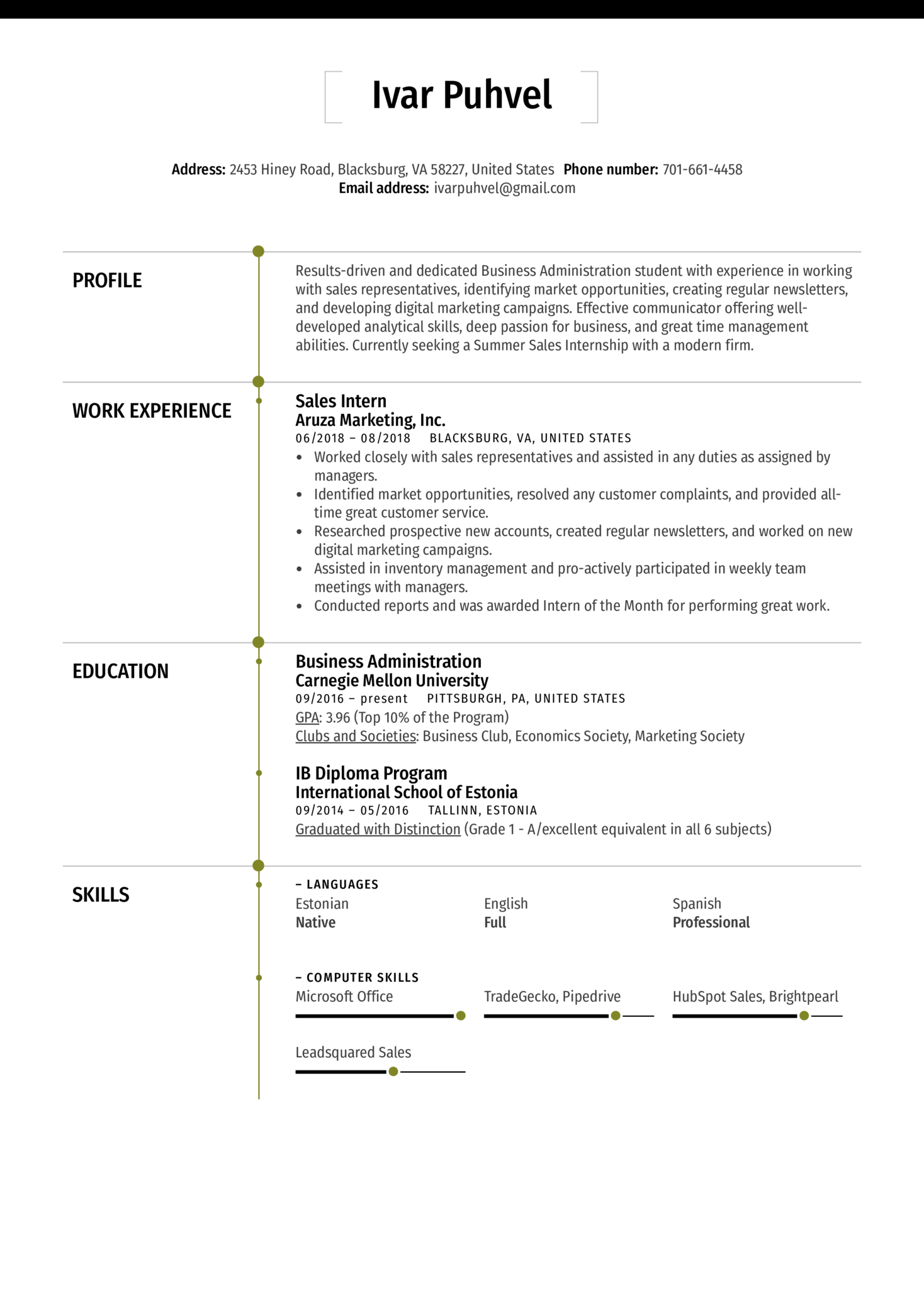 resume examples by real people  sales intern resume sample