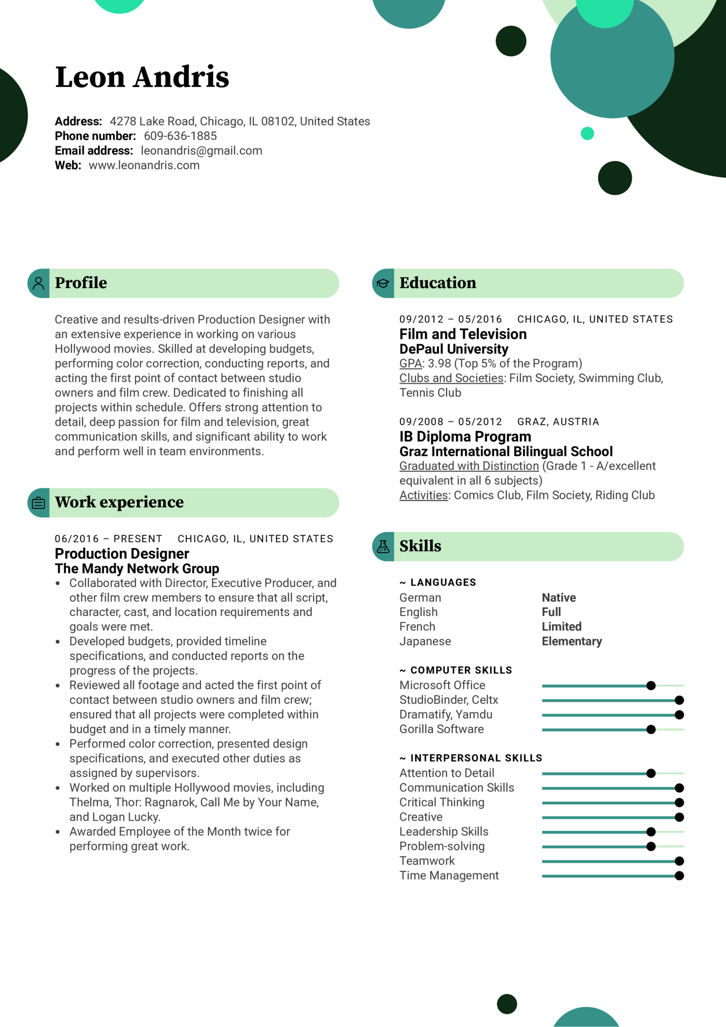 Production Designer Resume Example (Part 1)