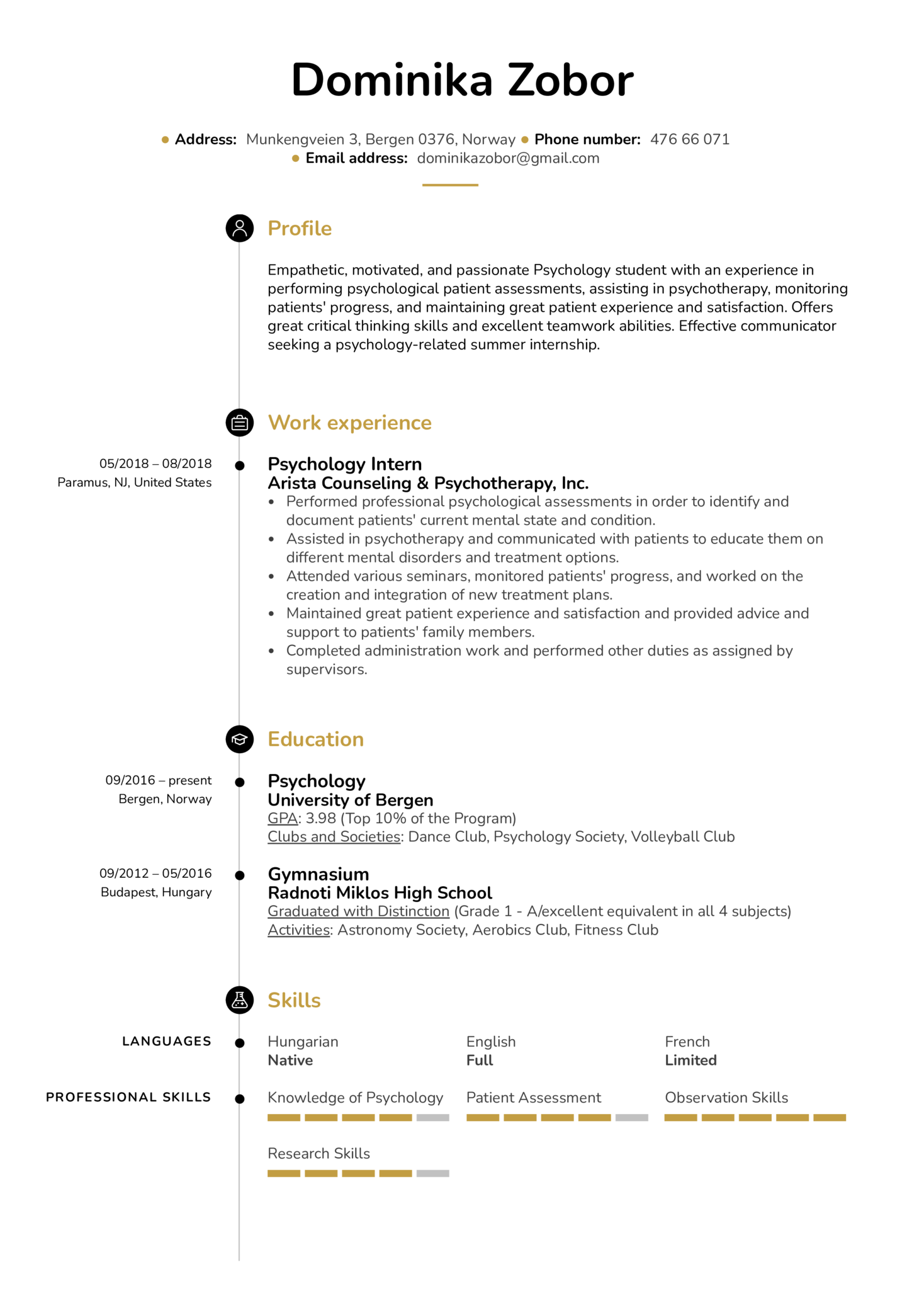 resume examples by real people  psychology intern resume