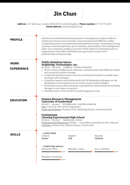 Public Relations Intern Resume Example