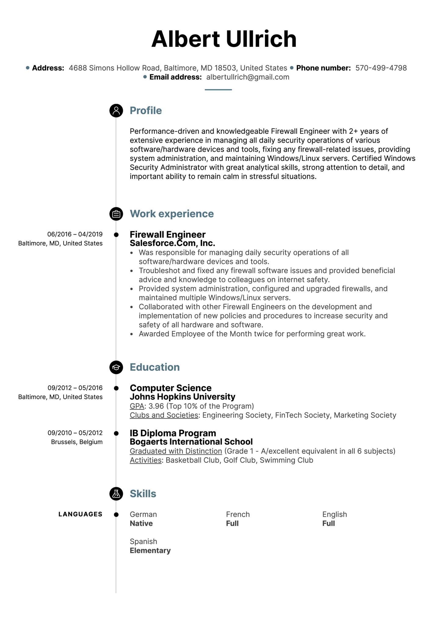 Firewall Engineer Resume Sample (parte 1)