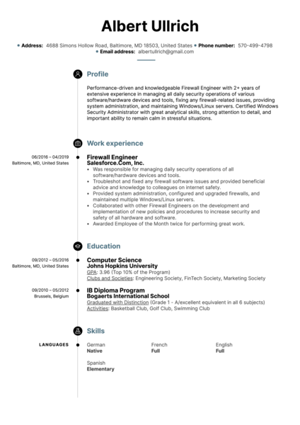 Firewall Engineer Resume Sample