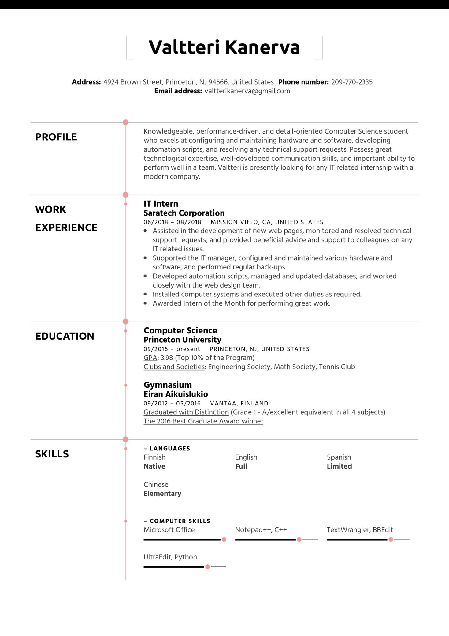 resume examples by real people  it intern resume template