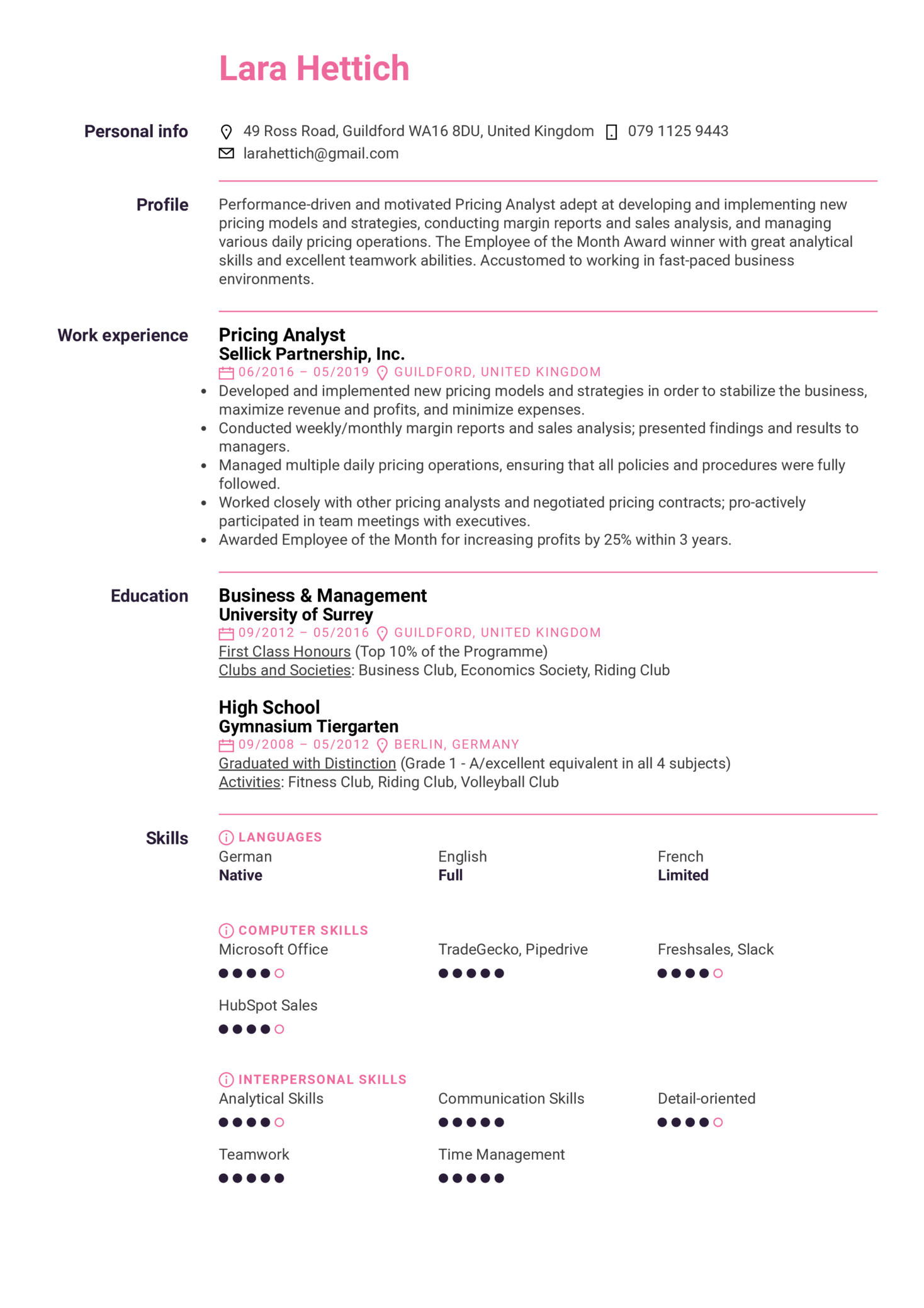 resume examples by real people  pricing analyst resume