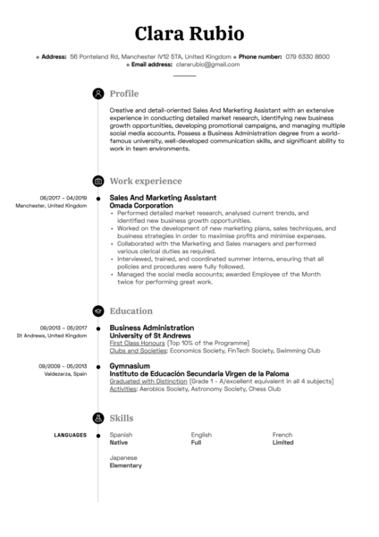 Sales And Marketing Assistant Resume Sample