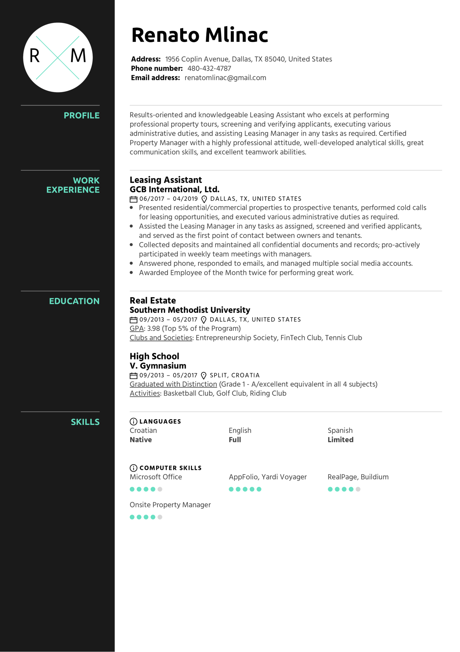 resume examples by real people  leasing assistant resume sample
