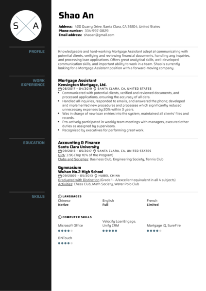 Mortgage Assistant Resume Sample