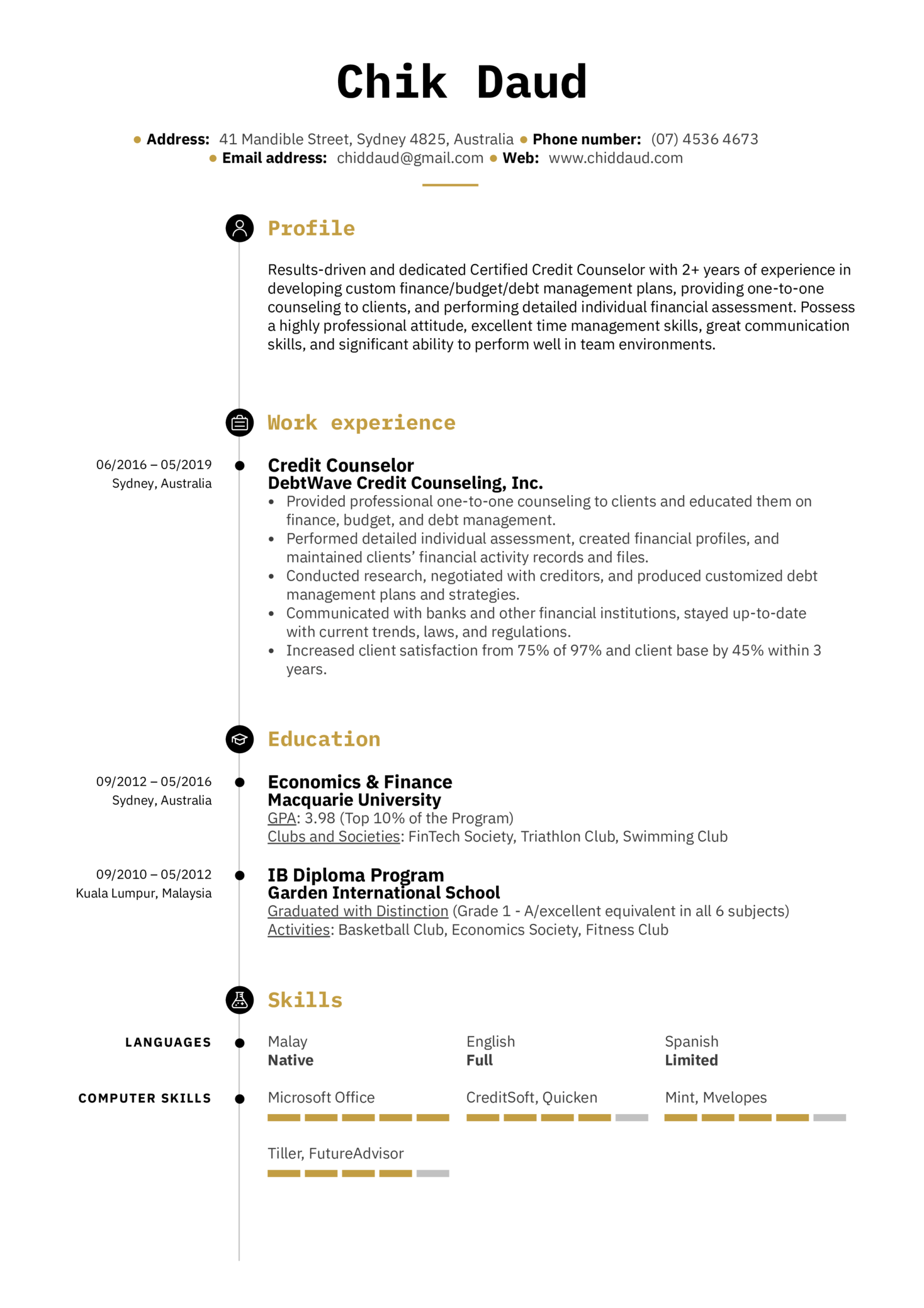 Credit Counselor Resume Example (Teil 1)