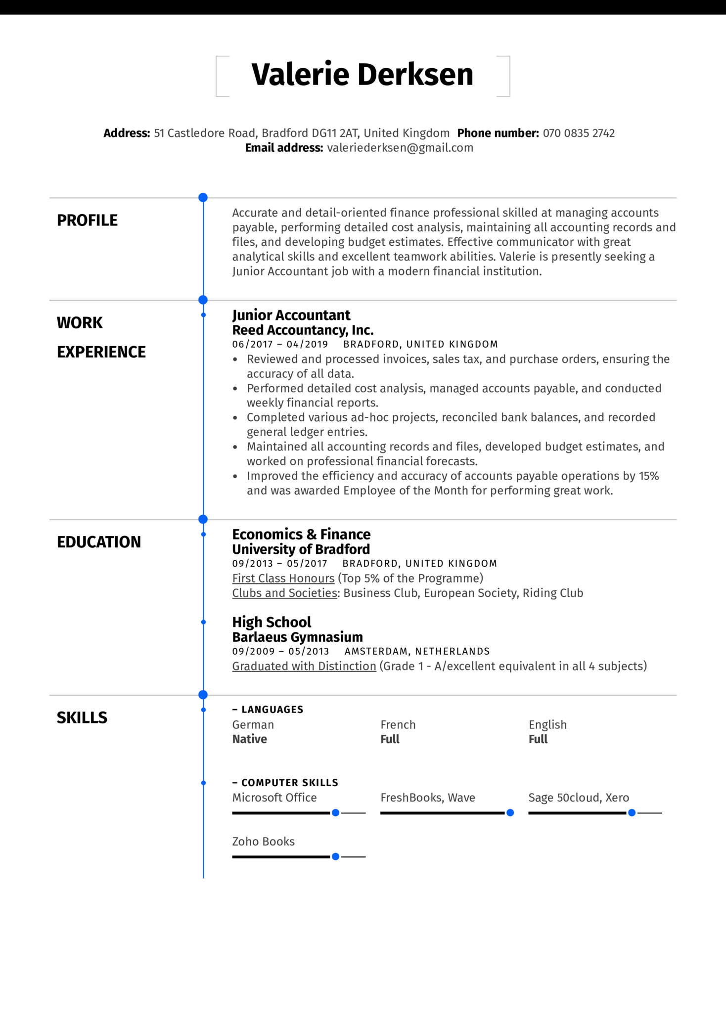 Junior Accountant Resume Sample Kickresume