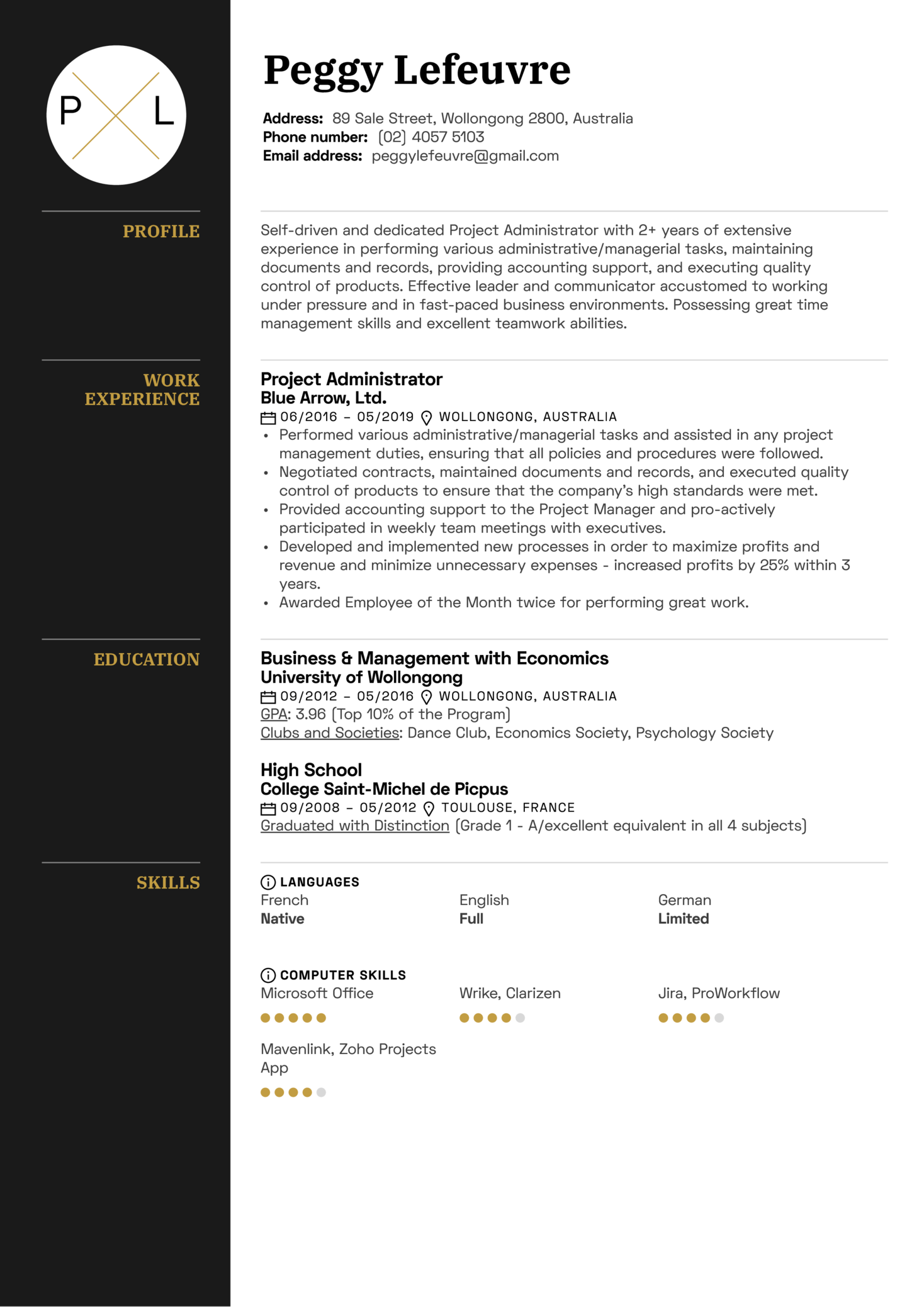 Project Administrator Resume Sample