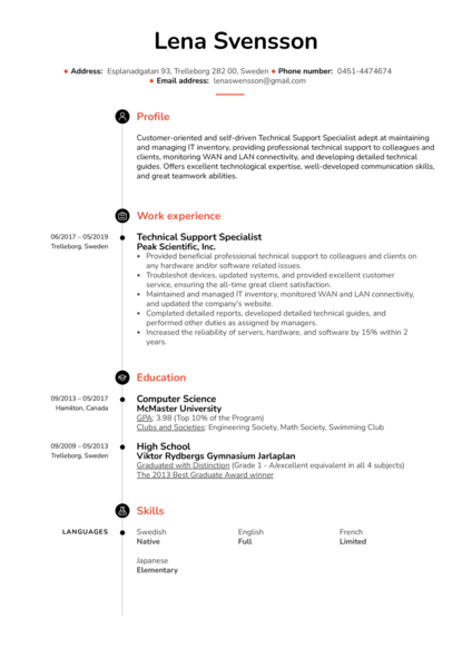 Technical Support Specialist Resume Example