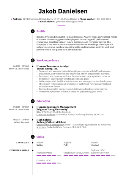 human resources resume samples from real professionals who