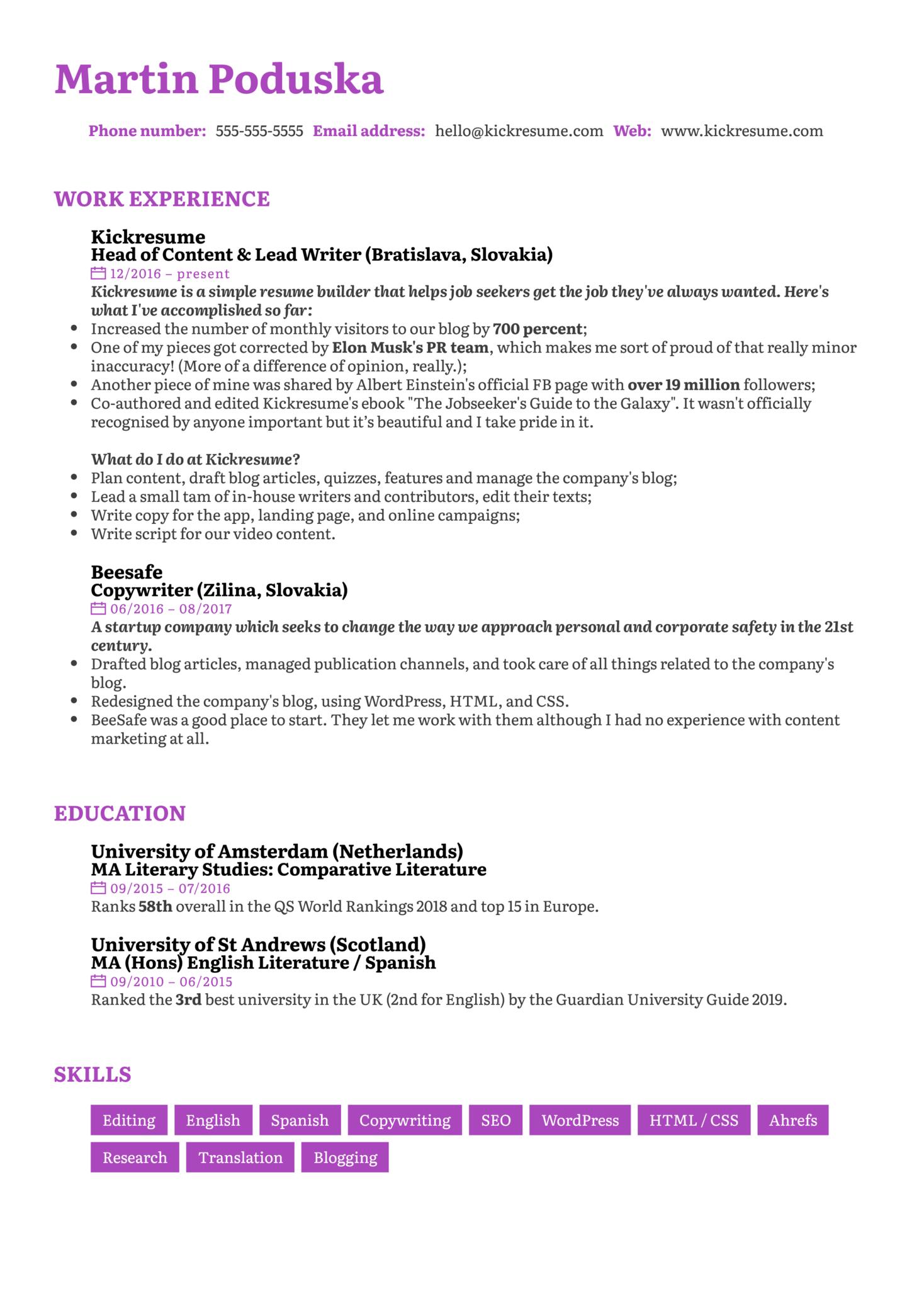 Senior Copywriter Resume Sample (Part 1)