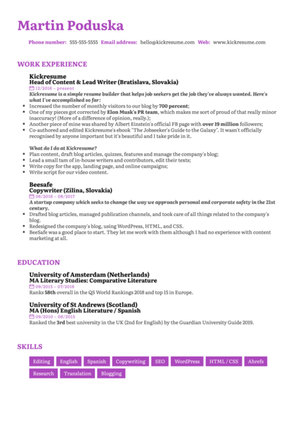 Senior Copywriter Resume Sample