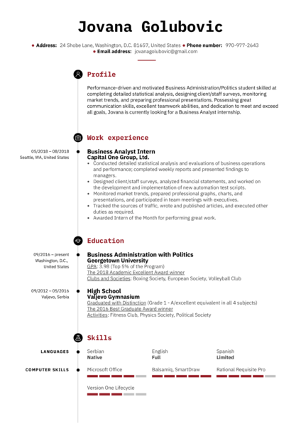 Business Analyst Intern Resume Example