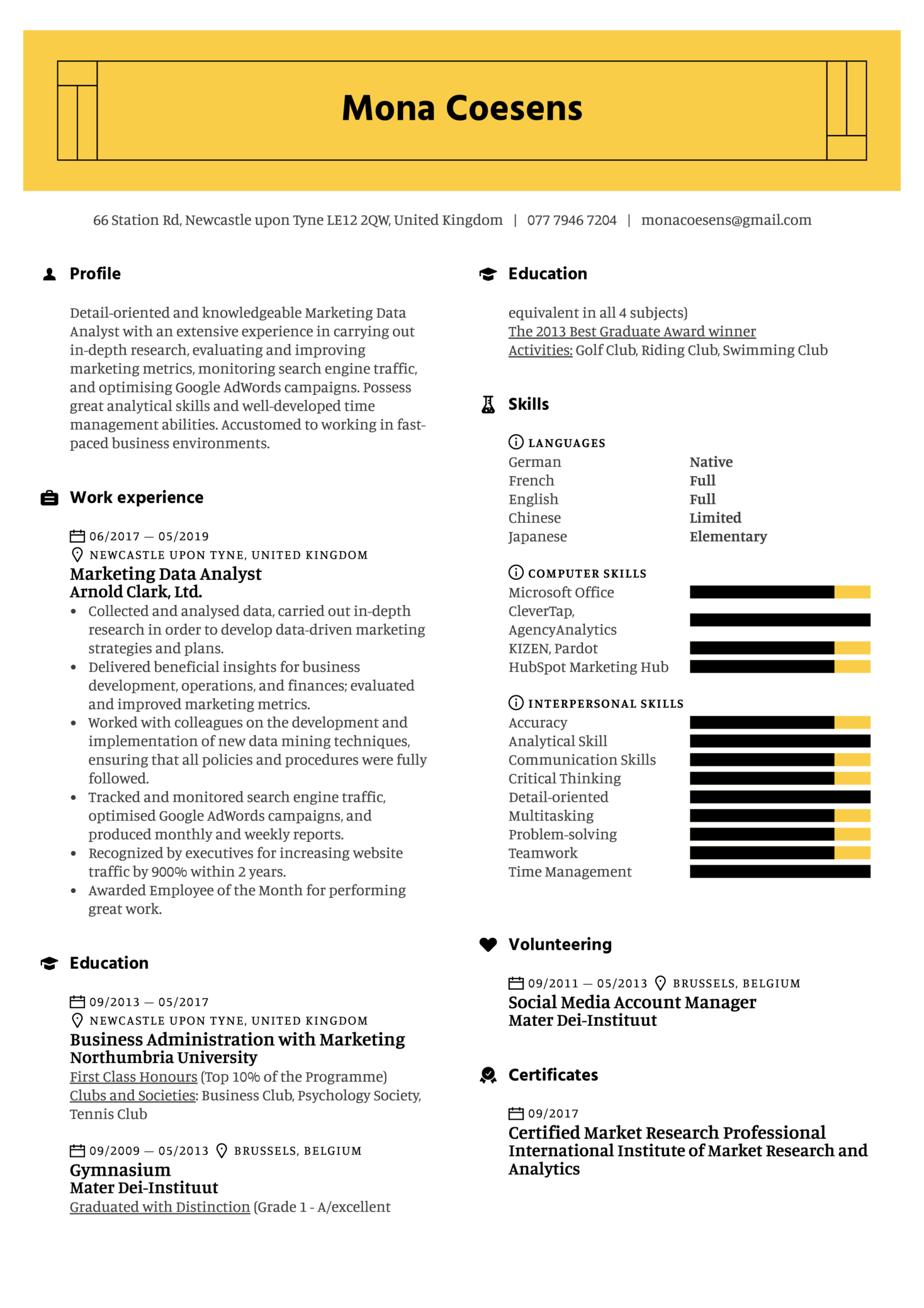 resume examples by real people  marketing data analyst