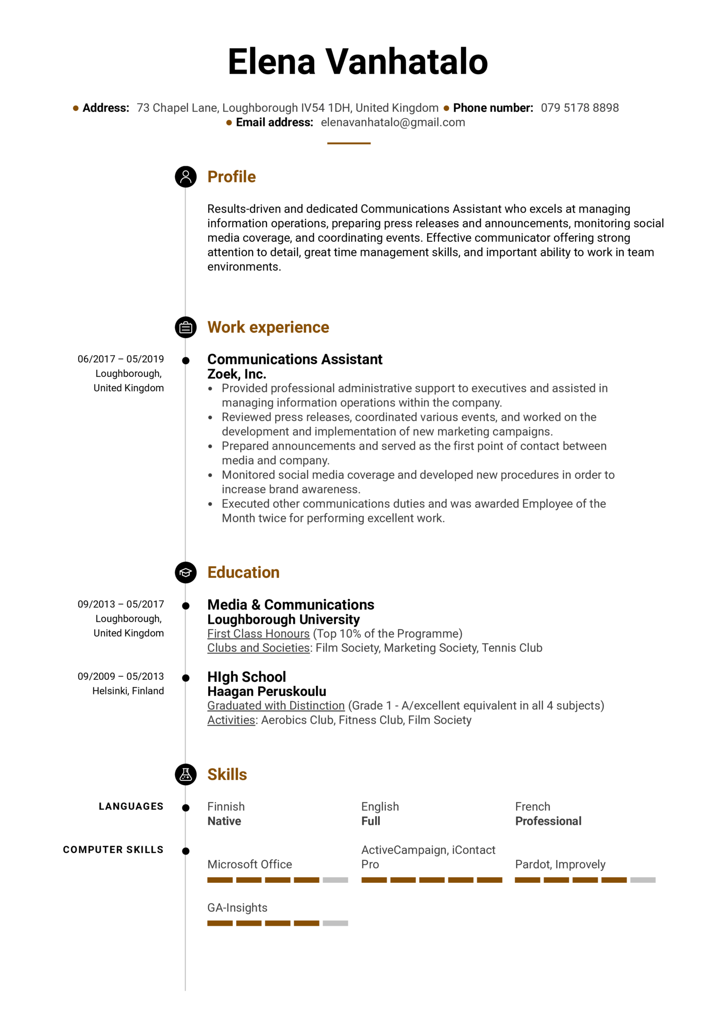 Communications Assistant Resume Example