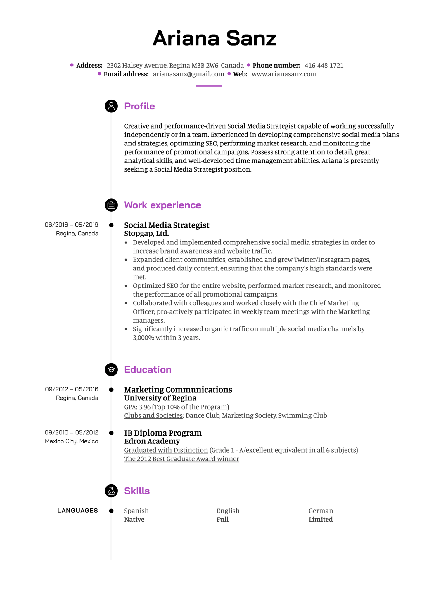 Social Media Strategist Resume Example