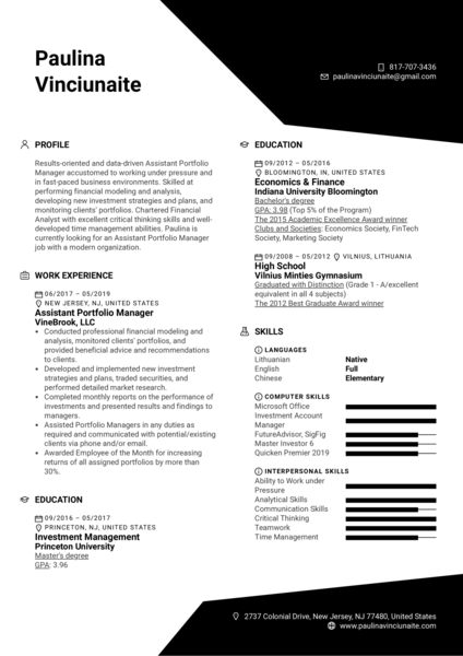 Assistant Portfolio Manager Resume Example