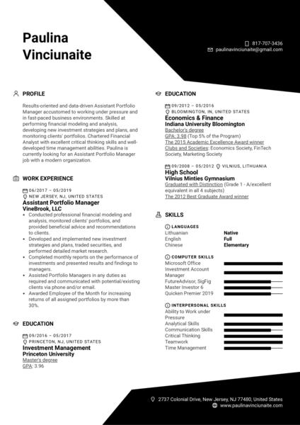 Assistant Portfolio Manager Resume Example