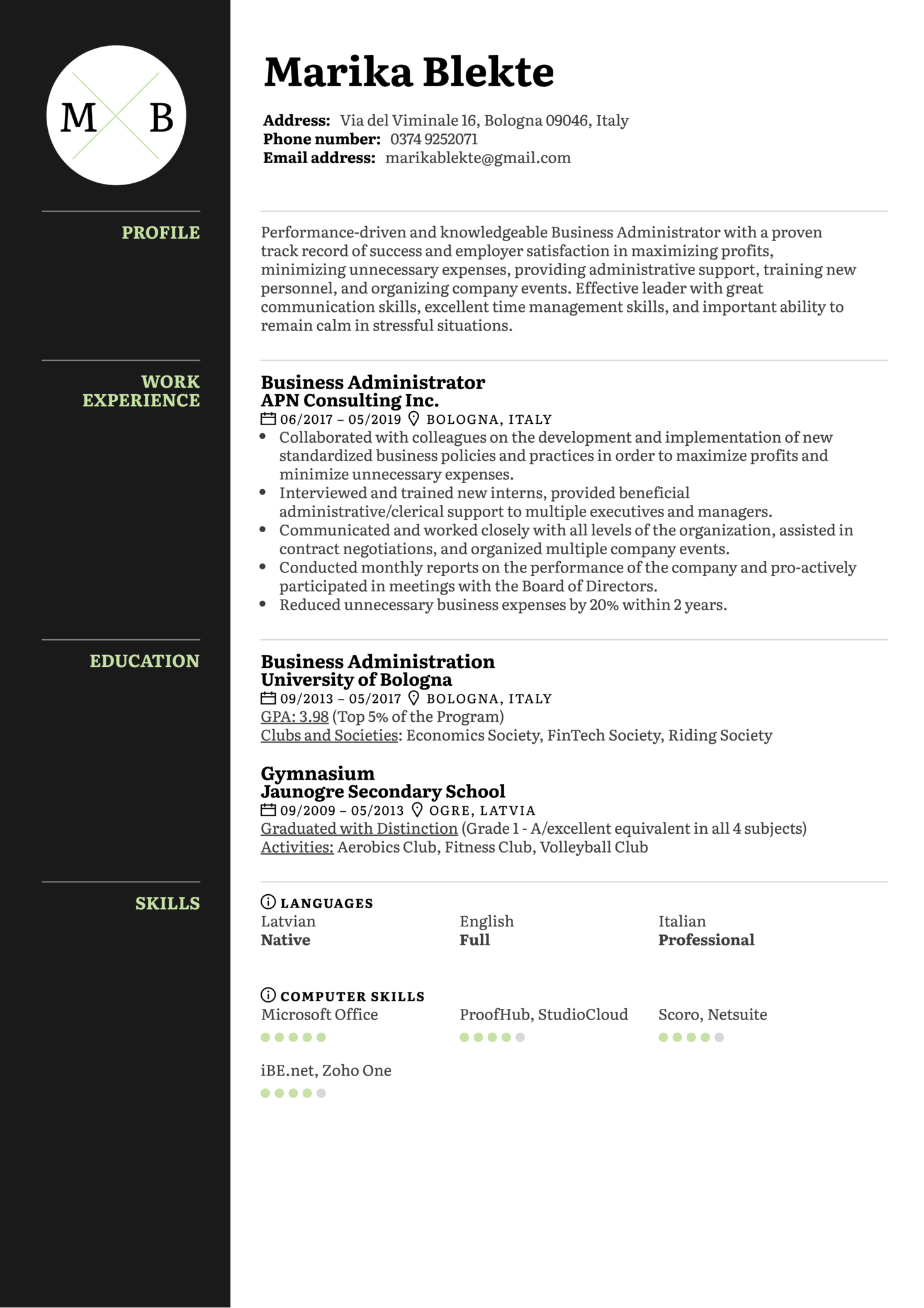 Business Administrator Resume Sample