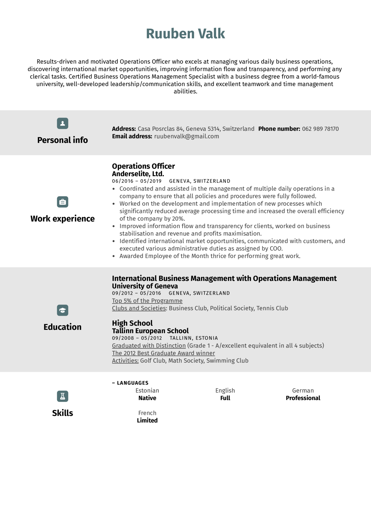 Operations Officer Resume Sample