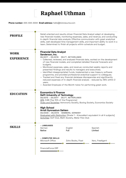 Financial Data Analyst Resume Sample