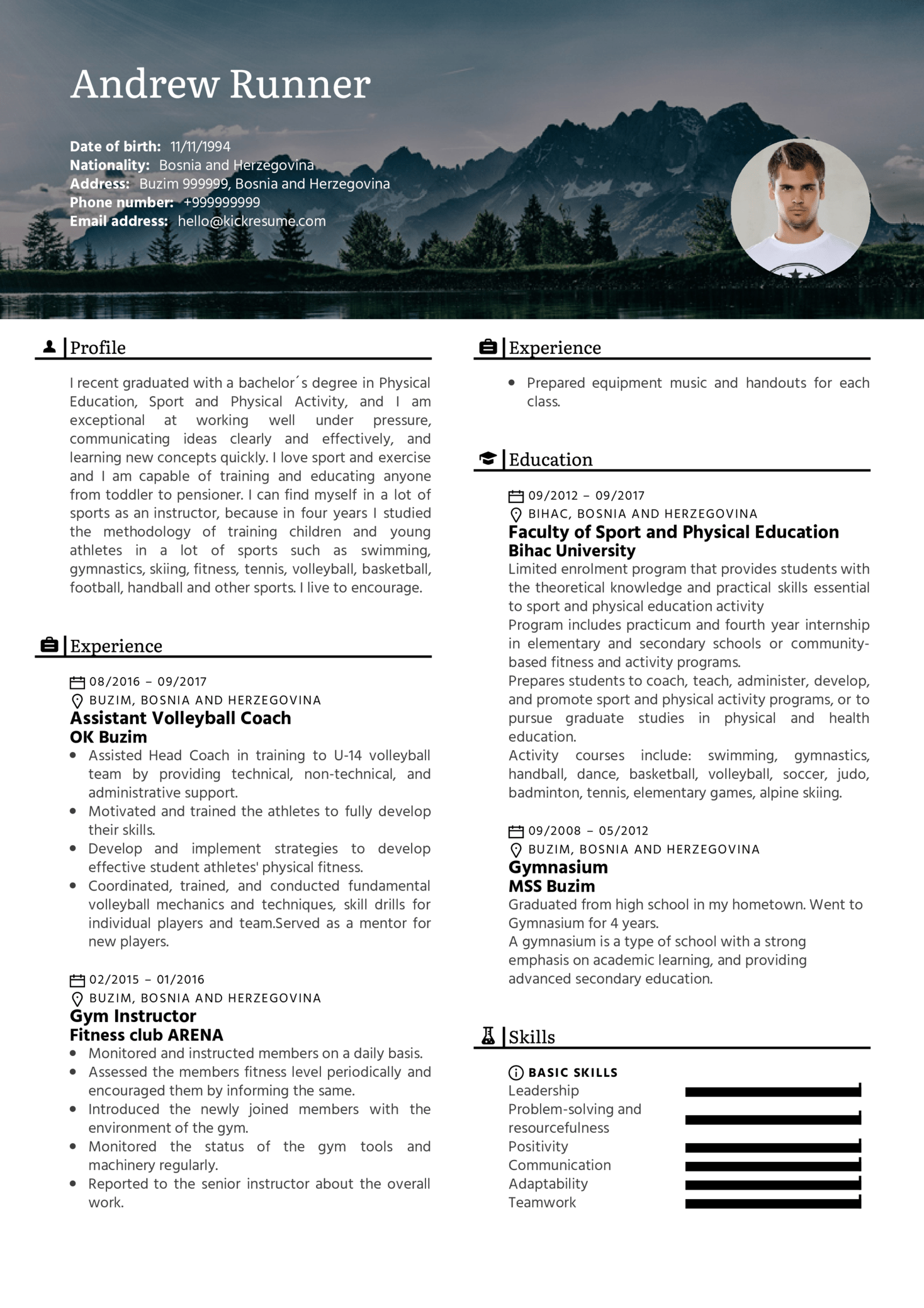 resume examples by real people  fitness instructor  assistant coach resume sample