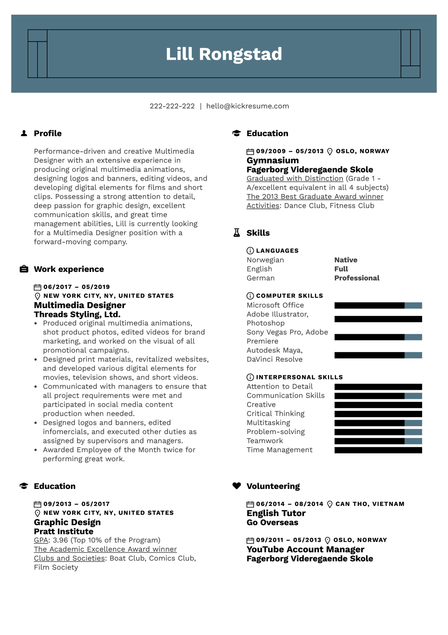 Multimedia Designer Resume Example (Teil 1)
