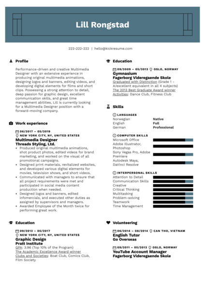 Multimedia Designer Resume Example