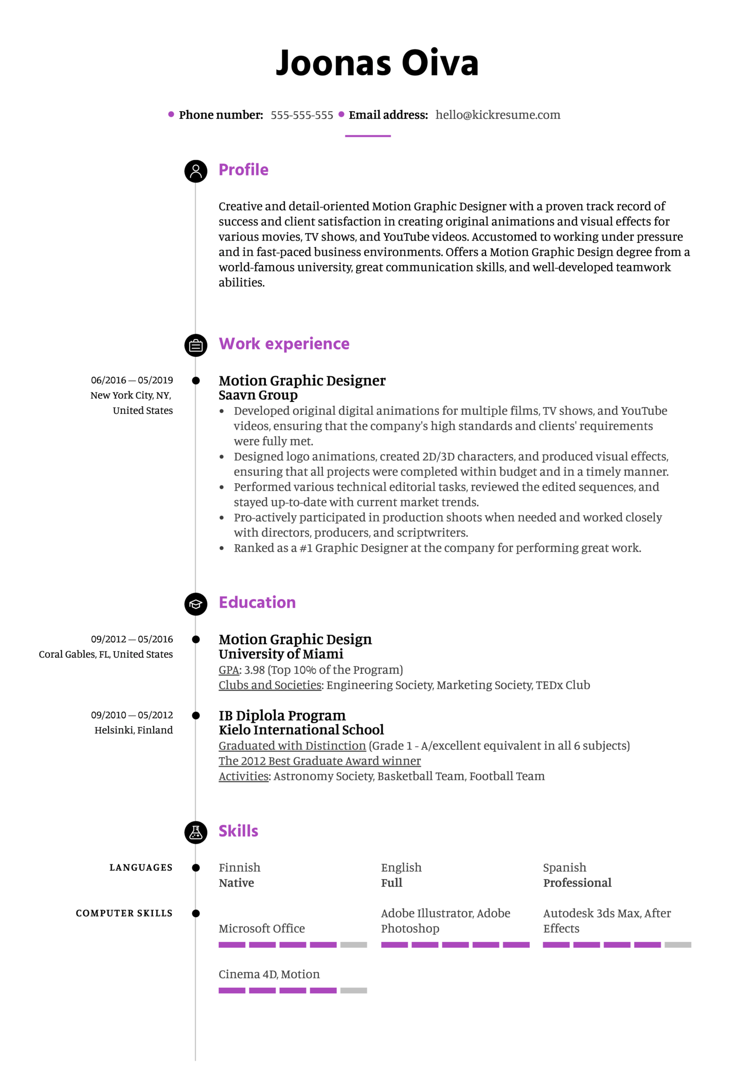 Motion Graphic Designer Resume Template Kickresume