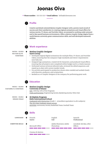 Motion Graphic Designer Resume Template