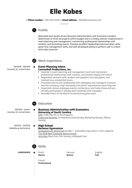 Event Planning Intern Resume Example