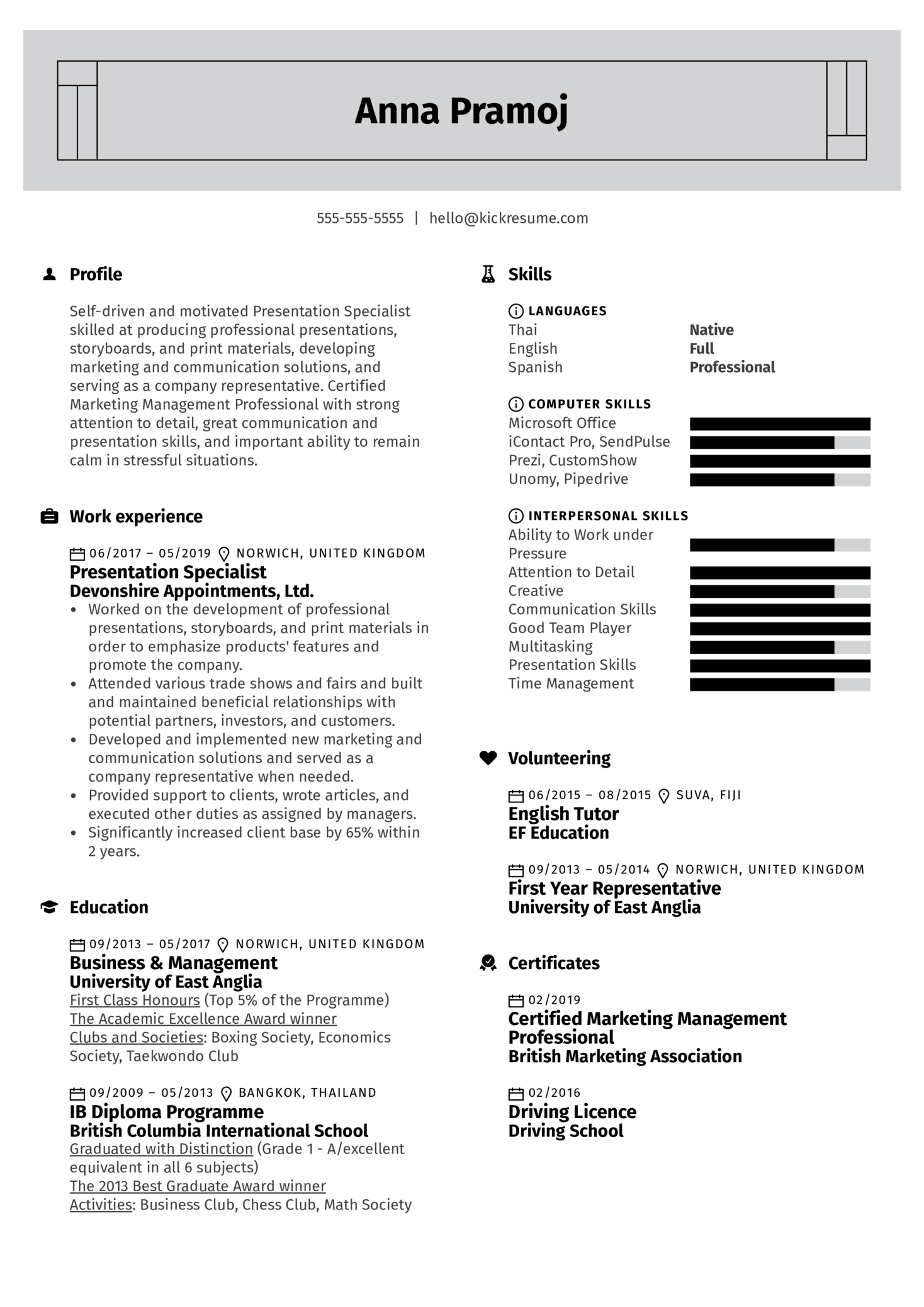 Presentation Specialist Resume Example