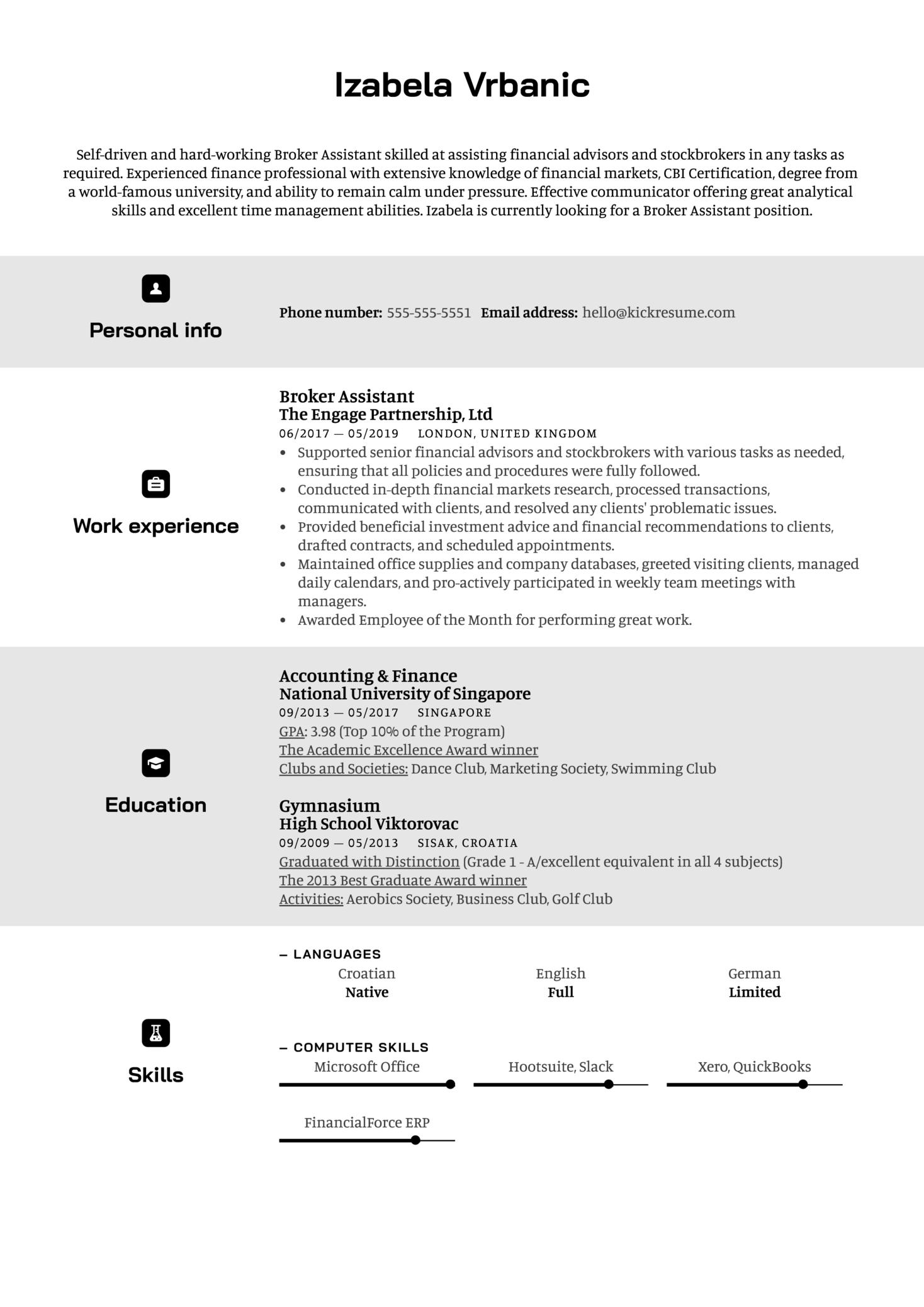 Broker Assistant Resume Sample