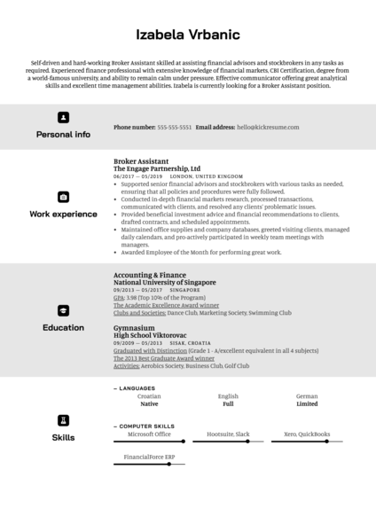 Broker Assistant Resume Sample