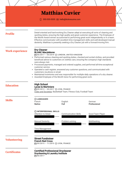 Dry Cleaner Resume Sample