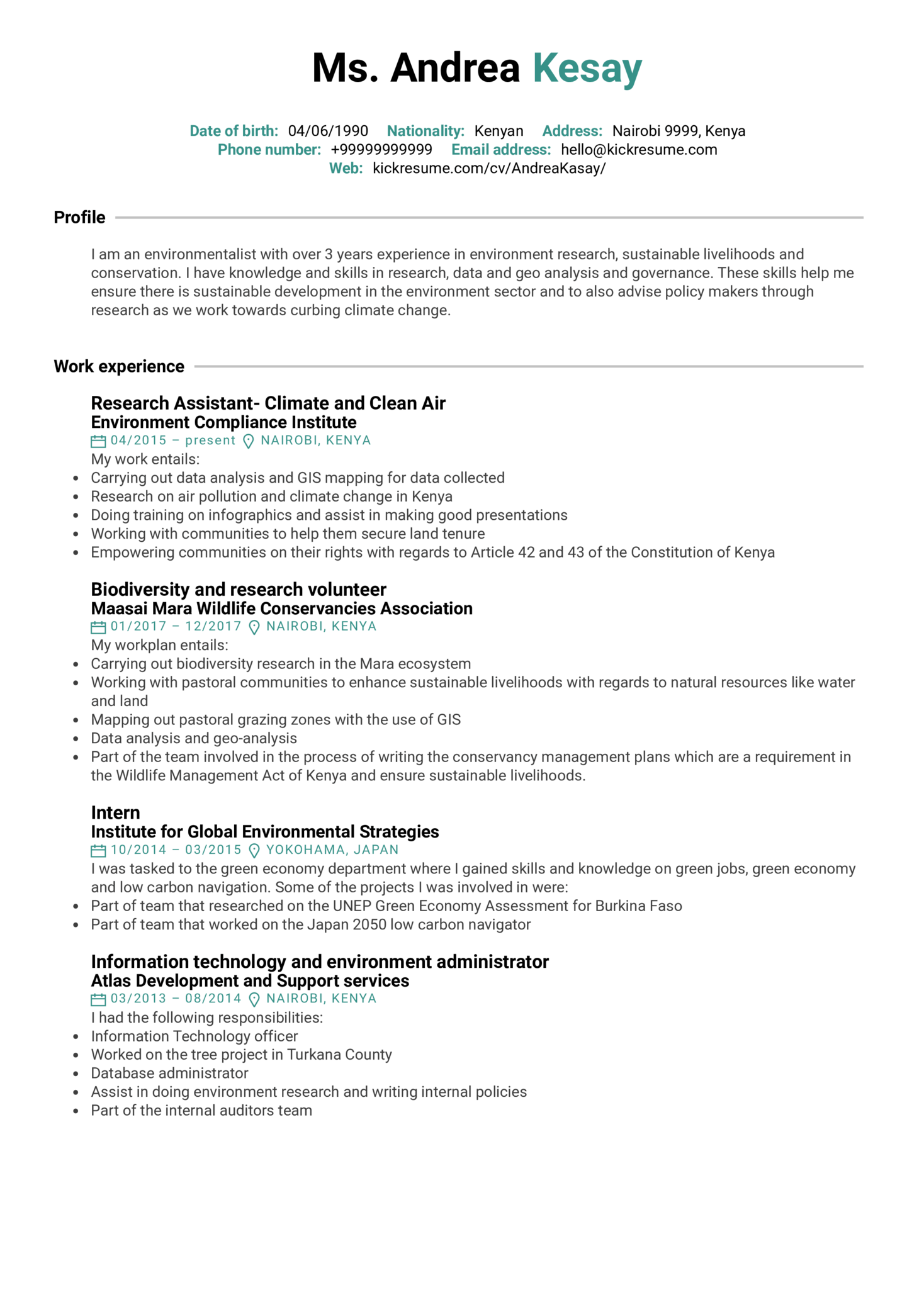 resume examples by real people  environmental research