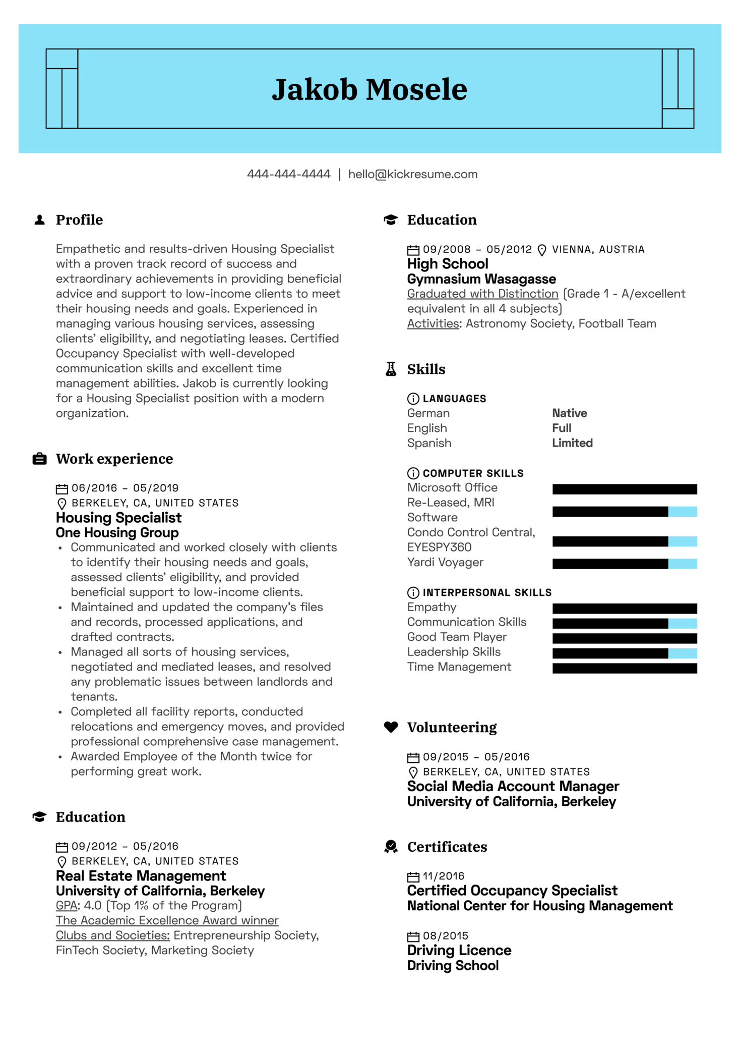 Housing Specialist Resume Example (Teil 1)