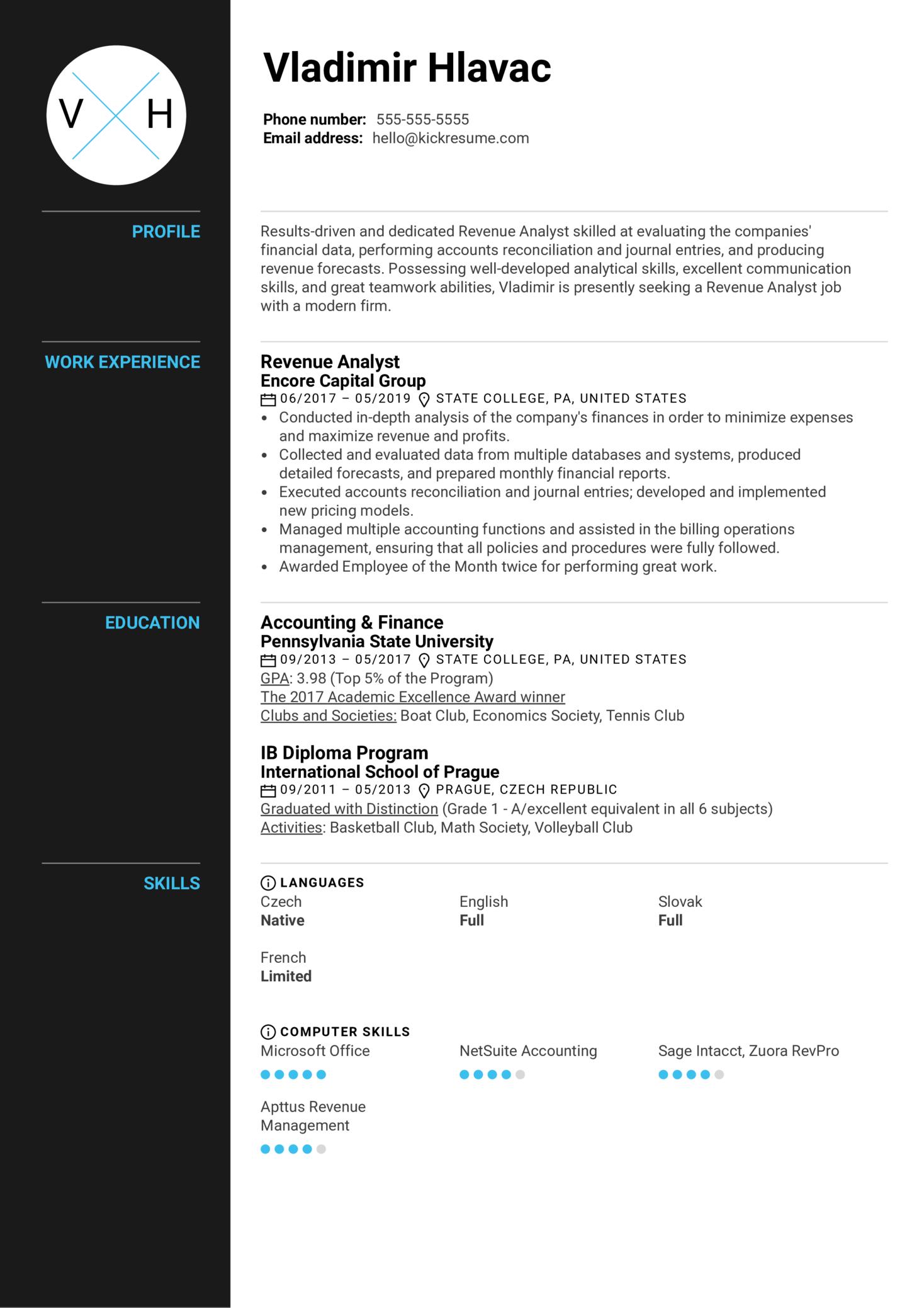 Revenue Analyst Resume Sample (Part 1)